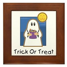 Trick or Treat Ghost Framed Tile