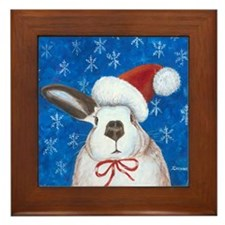 Santa Rabbit Framed Tile