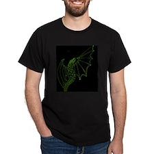 Green Dragon on Black T-Shirt