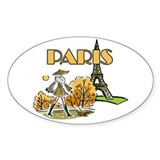 Paris Woman Oval Decal