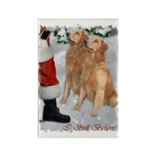 Golden Retriever Christmas Rectangle Magnet (10 pa