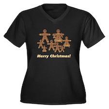 Cute Christmas family Women's Plus Size V-Neck Dark T-Shirt