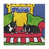 Boston Terrier Bored Bostons Tile Coaster