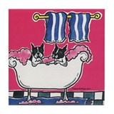 Boston Terrier Bathing Bostons Tile Coaster