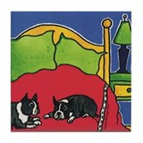 Boston Terrier Bedtime Bostons Tile Coaster