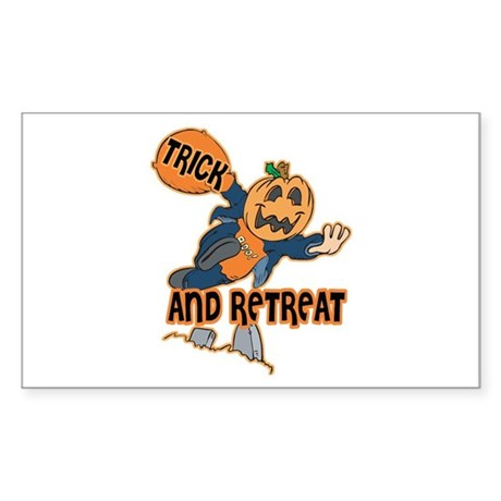 Trick and Retreat Rectangle Sticker
