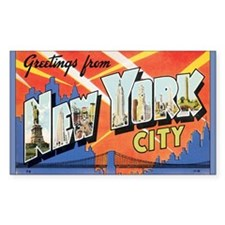 New York City Postcard Rectangle Decal
