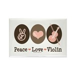 Peace Love Violin Rectangle Magnet (100 pack)