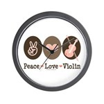 Peace Love Violin Wall Clock