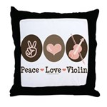 Peace Love Violin Throw Pillow