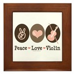 Peace Love Violin Framed Tile