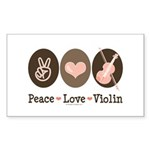 Peace Love Violin Rectangle Sticker