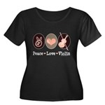 Peace Love Violin Women's Plus Size Scoop Neck Dar