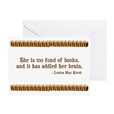 Too Fond of Books Greeting Card