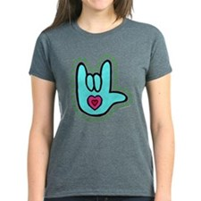 Aqua Dotty Love Hand Tee