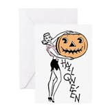 Retro Halloween Girl Greeting Card
