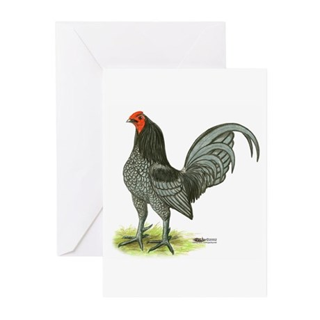 Blue OE Cock Greeting Cards (Pk of 10)