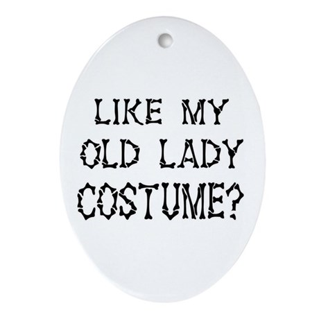 Old Lady Costume Oval Ornament