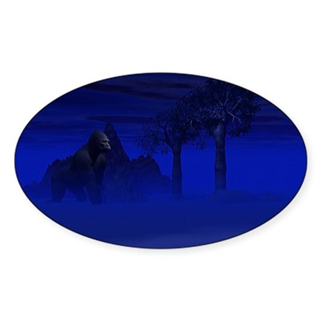 Night Gorilla Oval Sticker