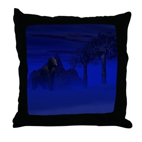 Night Gorilla Throw Pillow