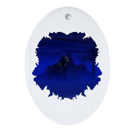Night Gorilla Oval Ornament