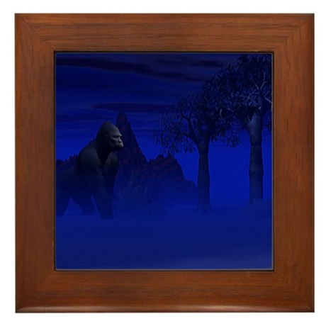 Night Gorilla Framed Tile