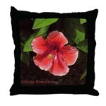 Red-orange hibiscus flower Throw Pillow