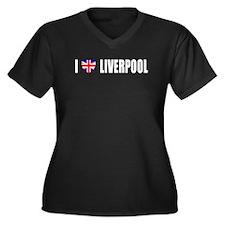 I Love Liverpool Women's Plus Size V-Neck Dark T-S
