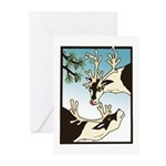 2 Reindeer & Pine Greeting Cards (20) Seasons Gree