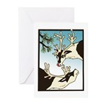 2 Reindeer & Pine Greeting Cards (10) Seasons Gree