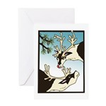 2 Reindeer & Pine Greeting Card Seasons Greetings
