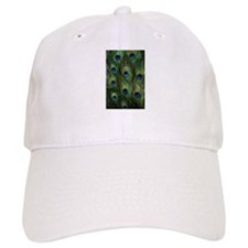 Peacock feathers on a Baseball Cap