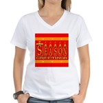 Season Greetings Tristar Ribb Women's V-Neck T-Shi