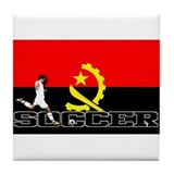 Angola Flag Soccer  Tile Coaster
