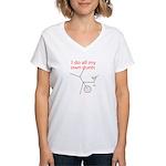 STUNTS WITH DRINK Women's V-Neck T-Shirt