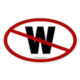 No W Anti Bush Oval Decal