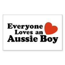 Everyone Loves an Aussie Boy Rectangle Decal