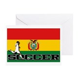 Bolivia Flag Soccer Greeting Cards (Pk of 10)
