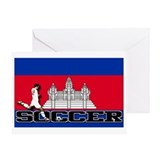 Cambodia Flag Soccer Greeting Card