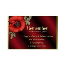 Remember Poppy Rectangle Magnet