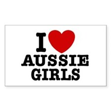 I Love Aussie Girls Rectangle Decal