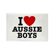 I Love Aussie Boys Rectangle Magnet
