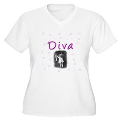Diva Women's Plus Size V-Neck T-Shirt