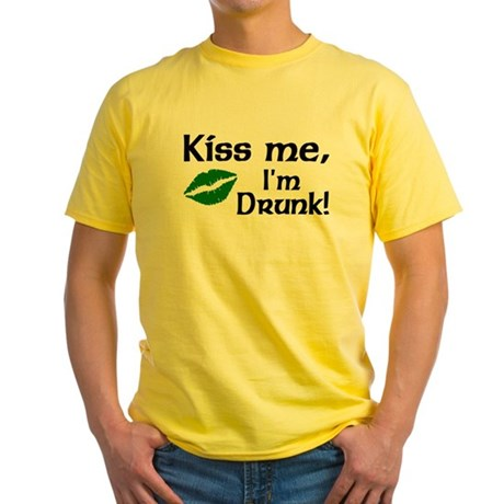 Kiss Me I'm Drunk Yellow T-Shirt