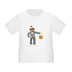 Sock Monkey Halloween Skeleton Toddler T-Shirt