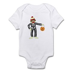 Sock Monkey Halloween Skeleton Infant Bodysuit