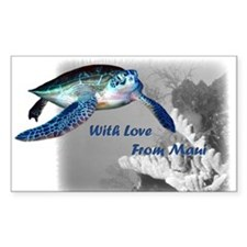 With Love From Maui Rectangle Decal