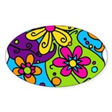 flowers 'n' paisleys Oval Decal