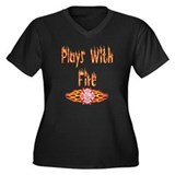 Plays with Fire Women's Plus Size V-Neck Dark T-Sh