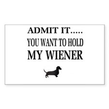 Hold My Wiener Dachshund Rectangle Decal